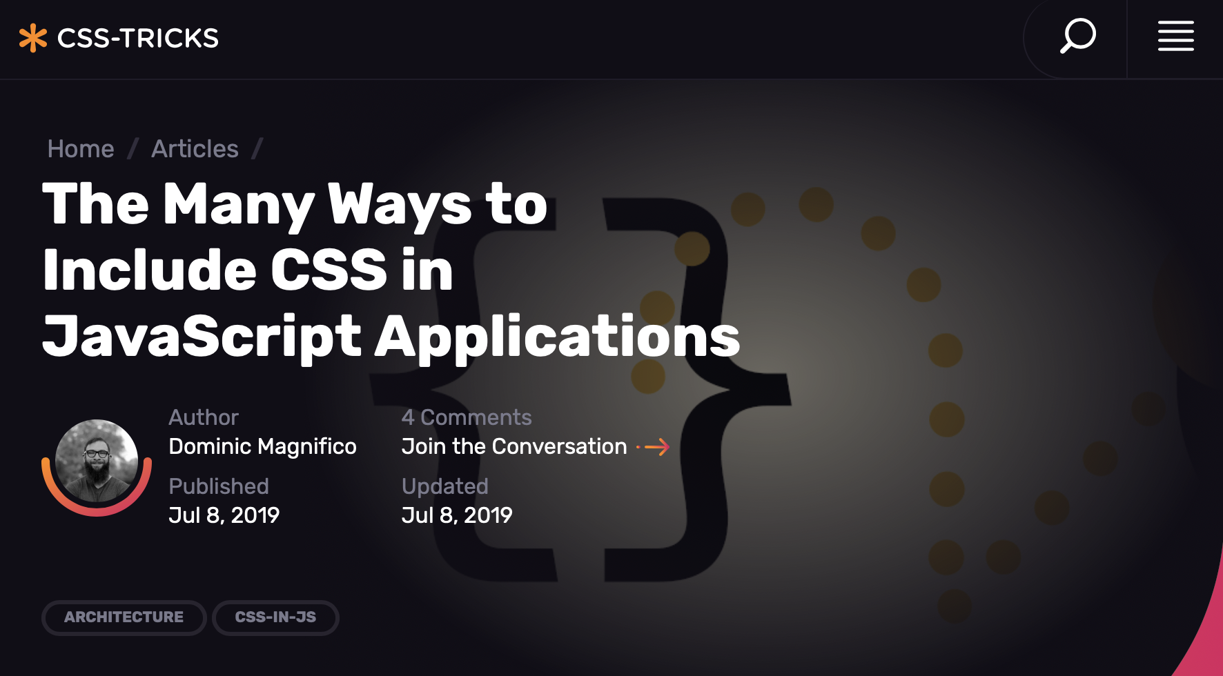 Article Screenshot The Many Ways to Include CSS in JavaScript Applications