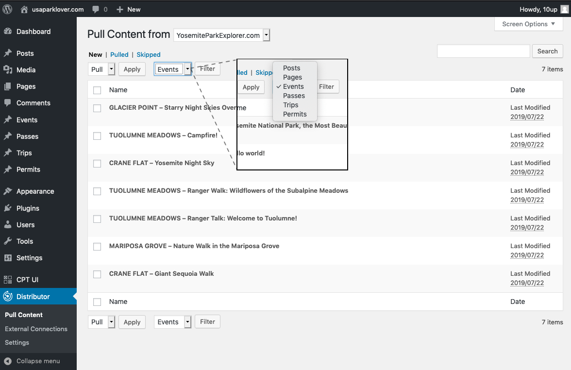 Screenshot Using Distributor to Pull by Content Type
