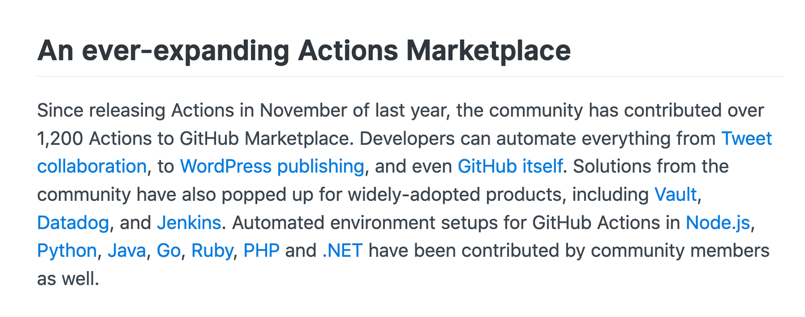 WordPress GitHub Actions Mention on the GitHub Blog