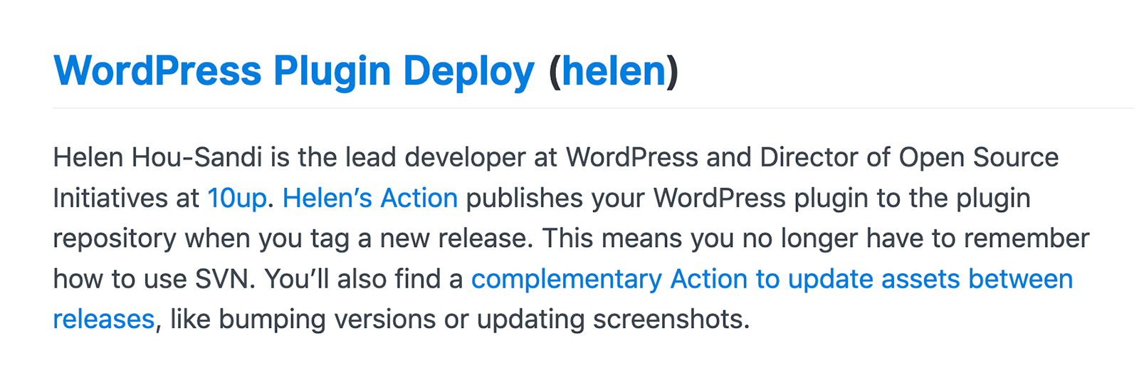 WordPress Plugin Deploy Mention on the GitHub Blog