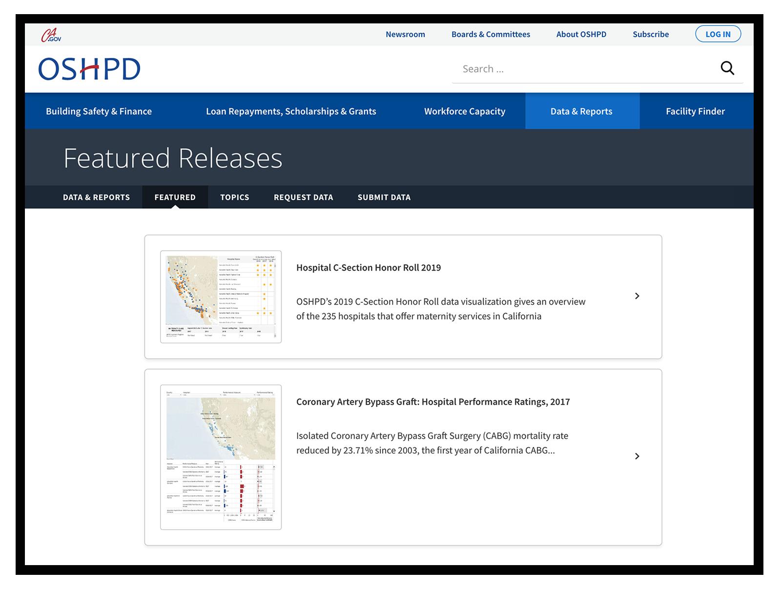 OSHPD.ca.gov Tableau Integration