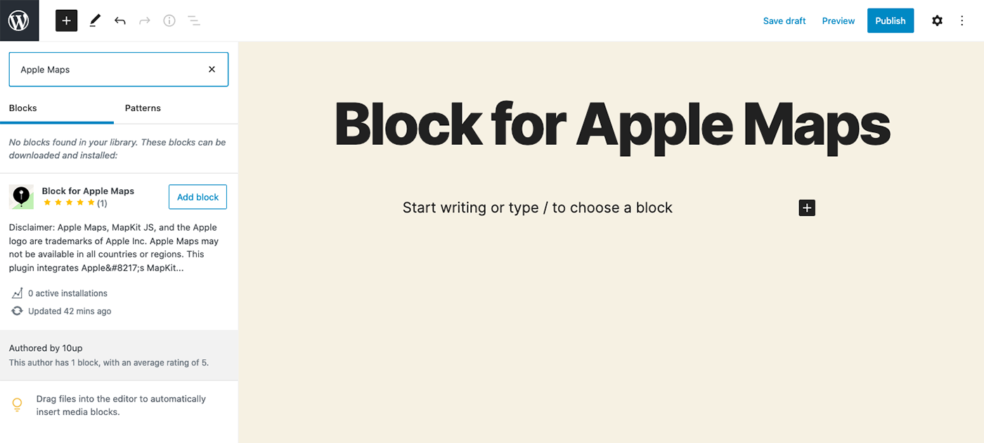Block for Apple Maps in the Block Directory