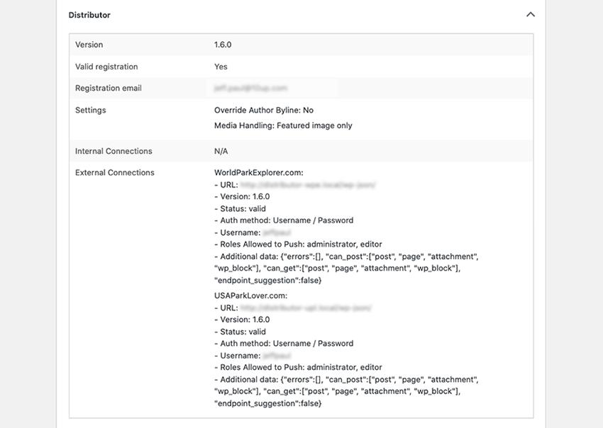 Distributor Information Displayed in the WordPress Site Health Screen