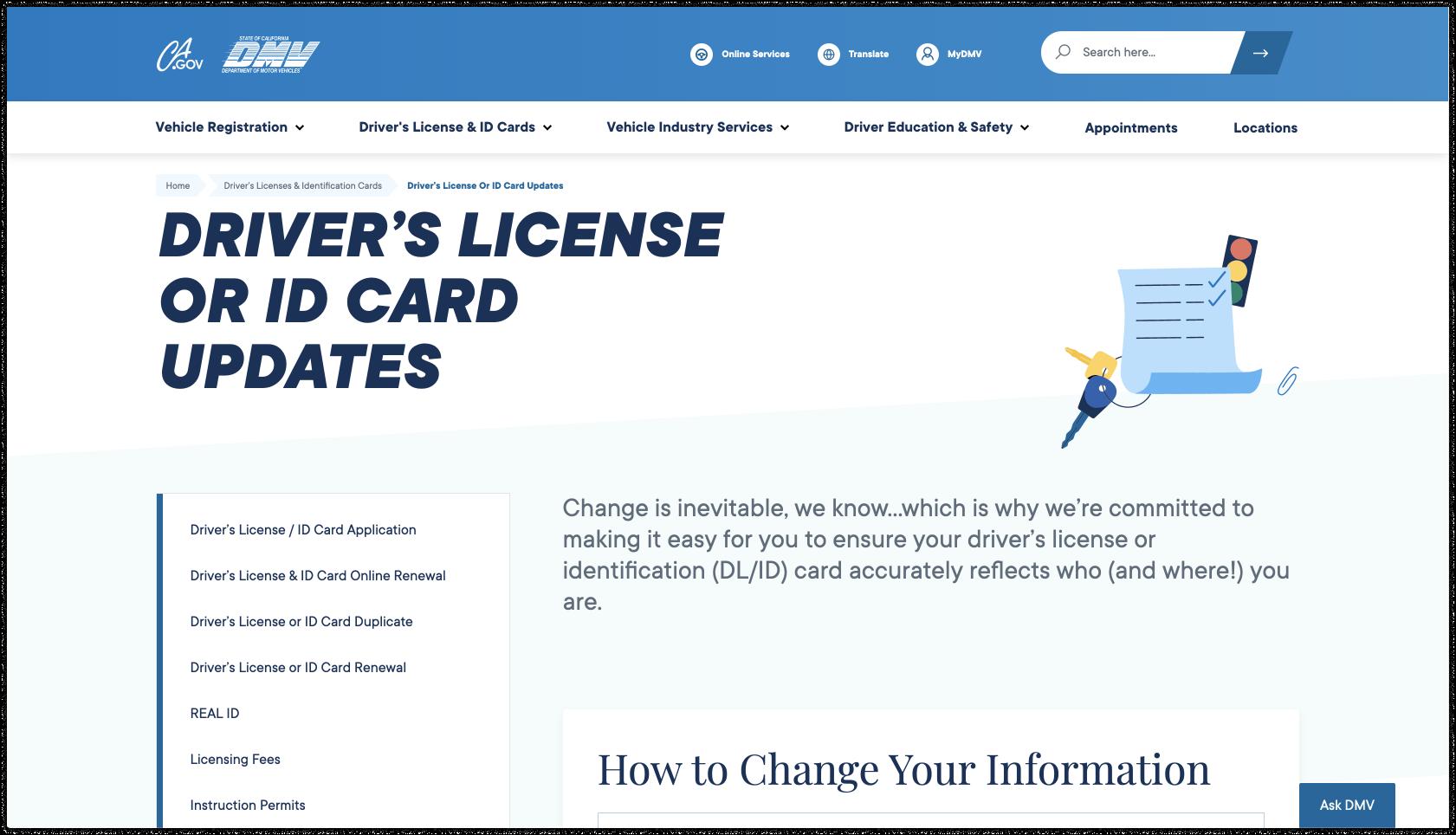 CA DMV Driver's License Page