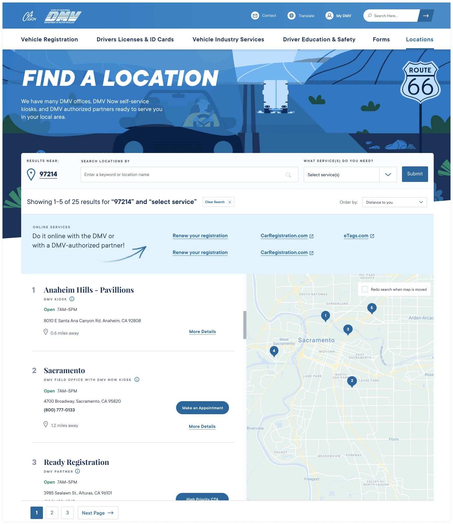 CA DMV Location Finder