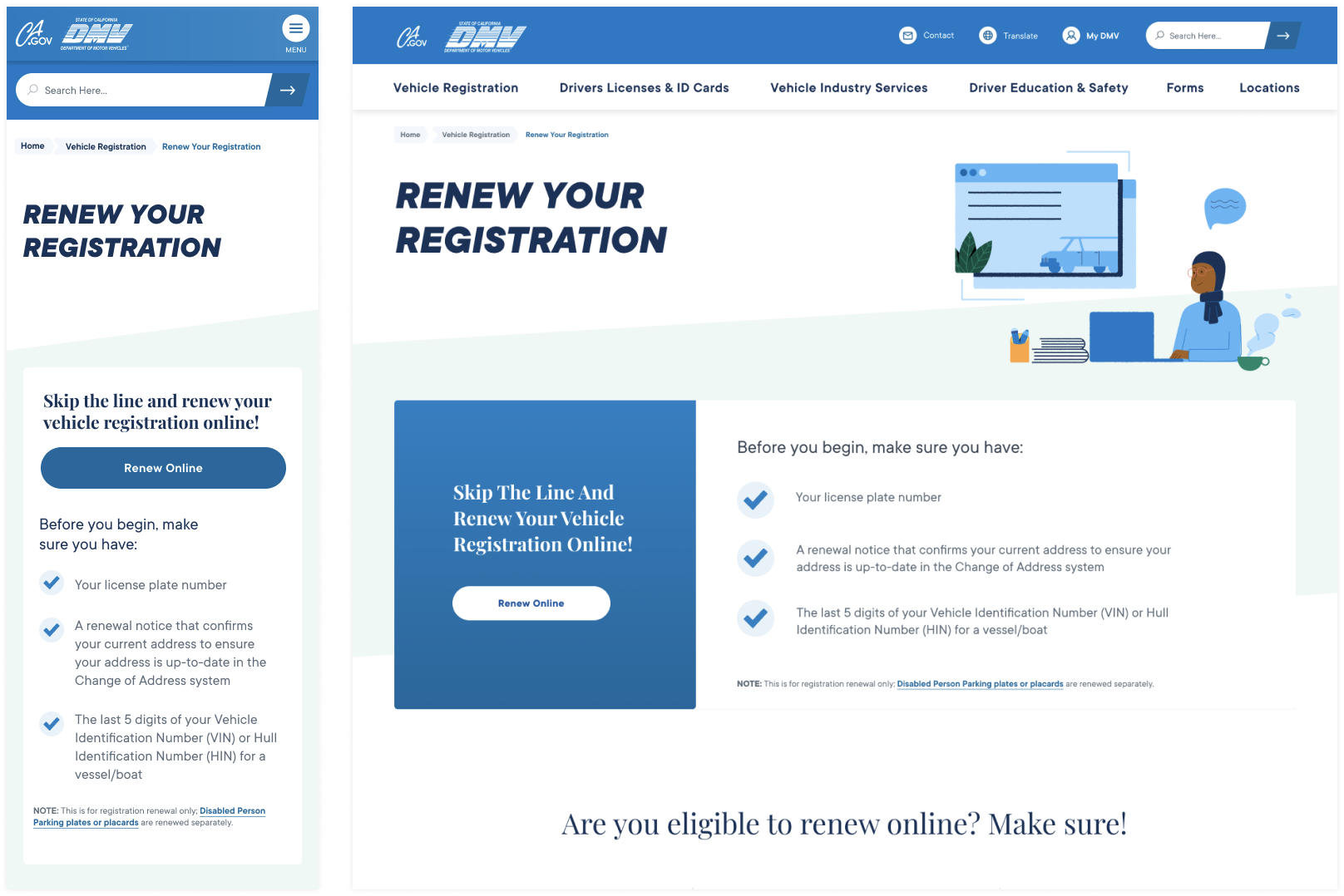 CA DMV Online Self Help Service Registration Renewal