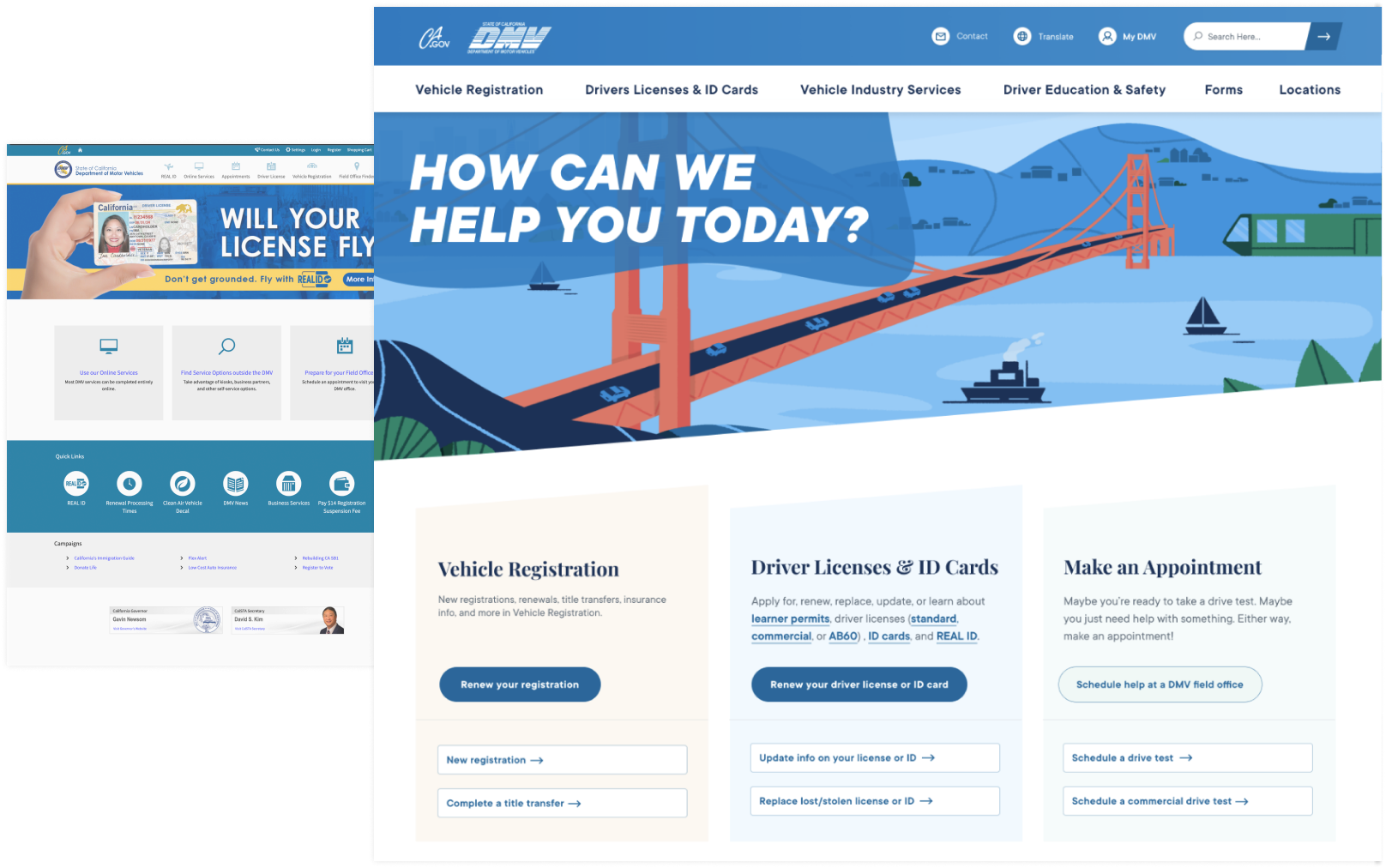 California DMV Website Design Before and After