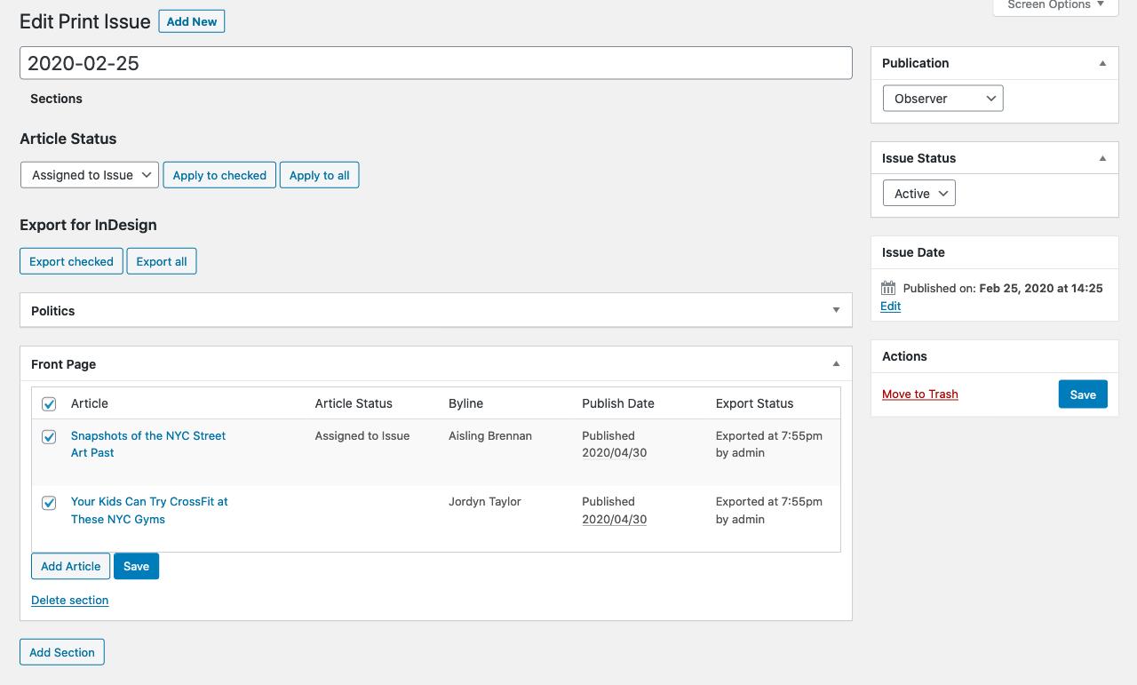 Eight Day Week Plugin Admin Screenshot Example