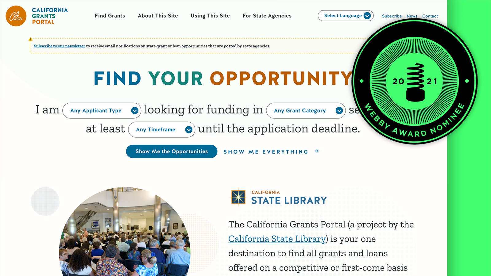 Webby Nominee: The California Grants Portal
