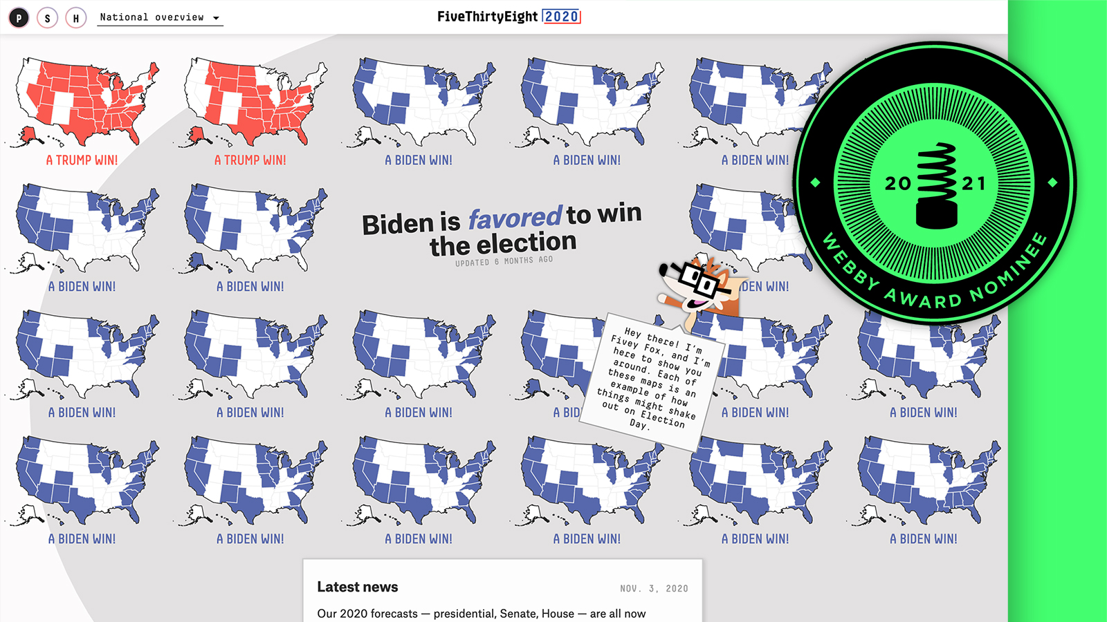 Webby Nominee: FiveThirtyEight