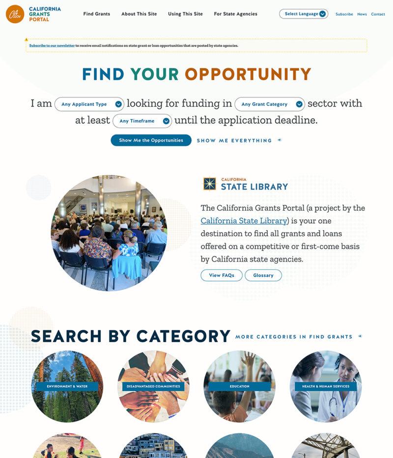 Government Website Development For The CA Grants Portal