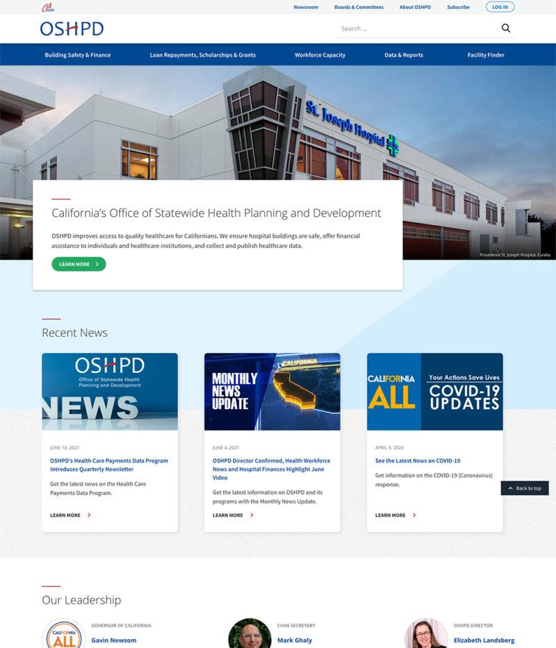 Government Website Design For CA OSHPD