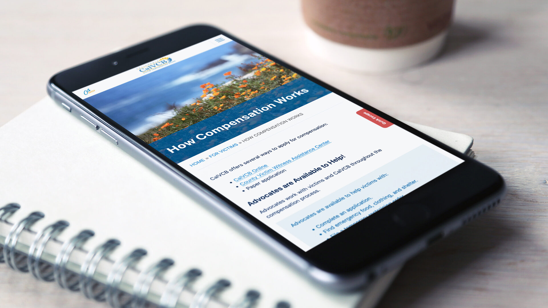 California Victim Compensation Board Website Redesign