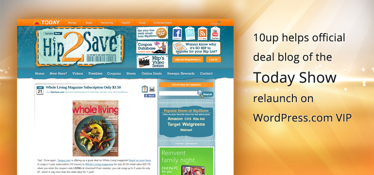 10up helps Today Show coupon blog move to WordPress.com VIP